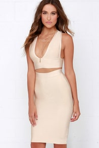Daring Dryad Beige Bodycon Two-Piece Dress at Lulus.com!