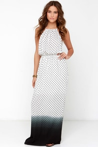 Lava Bed Beauty Ivory Print Dip-Dye Maxi Dress at Lulus.com!