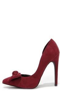Rock the Bow Oxblood Suede D'Orsay Pumps at Lulus.com!