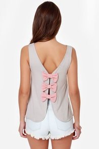 LULUS Exclusive Bows in a Row Grey Tank Top at Lulus.com!