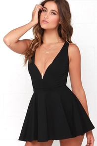 I Feel Good Black Skort Dress at Lulus.com!