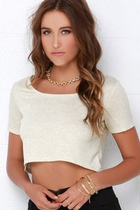 Half-Caff Beige Crop Top at Lulus.com!