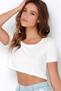 Half-Caff Ivory Crop Top at Lulus.com!