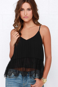 As You Pleats Black Lace Crop Top at Lulus.com!