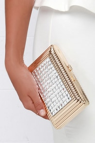 Just Encased Gold Rhinestone Clutch at Lulus.com!