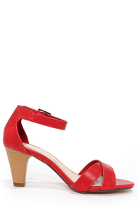 City Classified Suite Red Ankle Strap Heels at Lulus.com!