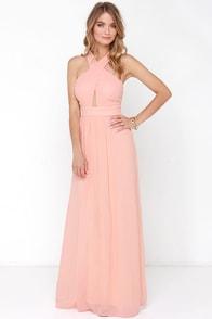 Chimerical Creation Peach Maxi Dress at Lulus.com!