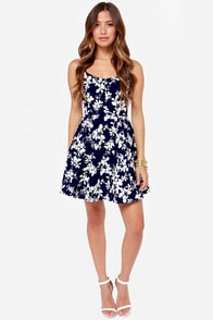 LULUS Exclusive Glass Half Foliage Navy Blue Floral Print Dress at Lulus.com!