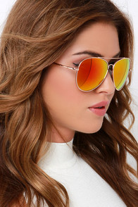 Treetop Flyer Gold and Orange Aviator Sunglasses at Lulus.com!