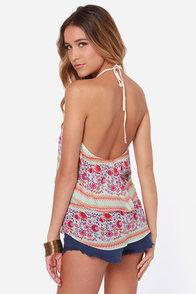 O'Neill Dale Floral Print Halter Top at Lulus.com!