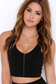 All in Arrow Silver Layered Necklace at Lulus.com!