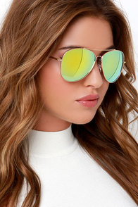 Off-Duty Pilot Gold and Yellow Aviator Sunglasses at Lulus.com!