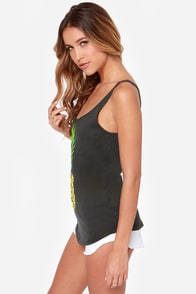 O'Neill Pineapple Dreams Washed Black Tank Top at Lulus.com!