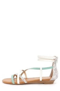 CL by Laundry Shannen Cool Mint and White Ankle Strap Sandals at Lulus.com!