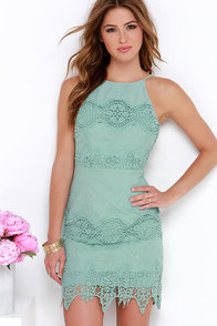 Worth It Sage Green Backless Lace Dress at Lulus.com!