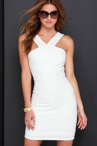 Make Me Smile Ivory Bodycon Dress at Lulus.com!