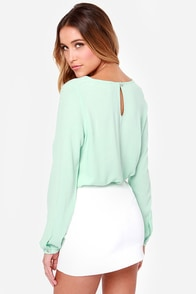 Blouse Hunting Long Sleeve Mint Green Top at Lulus.com!