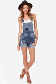 White Crow Orion Distressed Denim Overalls at Lulus.com!