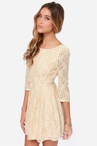 Romantic Liaison Cream Lace Dress at Lulus.com!