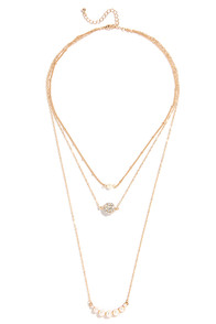 Swiftly Drift Gold and Pearl Layered Necklace at Lulus.com!