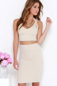 Piece Together Beige Two-Piece Dress at Lulus.com!