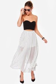 That's My Spot Ivory Polka Dot Maxi Skirt at Lulus.com!