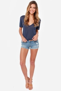 Adventurer Light Wash Distressed Jean Shorts at Lulus.com!