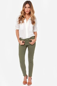 Flying Monkey Moto Maggie Army Green Skinny Jeans at Lulus.com!