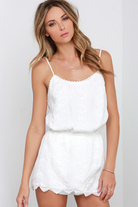 Peekaboo in the Posies Ivory Lace Romper at Lulus.com!
