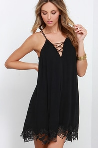 Crisscross the Divide Black Dress at Lulus.com!