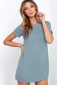 Matter of Fact Grey Shift Dress at Lulus.com!