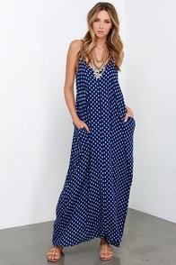 Wander West Navy Blue Print Maxi Dress at Lulus.com!