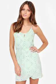 Lucy Love Nightengale Mint Print Dress at Lulus.com!