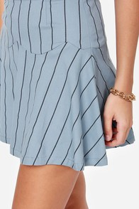 JOA Fresh Start Blue Striped Skirt at Lulus.com!