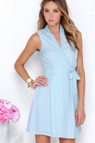 Sartorial Splendor Light Blue Wrap Dress at Lulus.com!