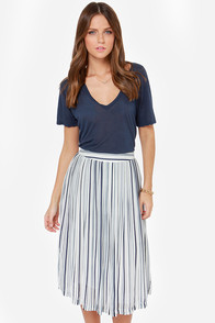 JOA Two-Way Pleat Navy Blue and Ivory Midi Skirt at Lulus.com!