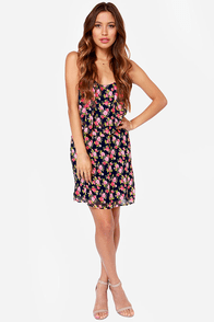 Stuns in Roses Navy Blue Floral Print Dress at Lulus.com!