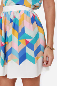 Geometric Pick Ivory Print Skirt at Lulus.com!