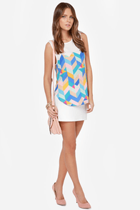 Shapes Odyssey Sleeveless Ivory Print Top at Lulus.com!