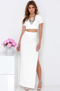 Fool Me Twice Ivory Two-Piece Maxi Dress at Lulus.com!