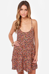 Floral Code Orange Floral Print Dress at Lulus.com!