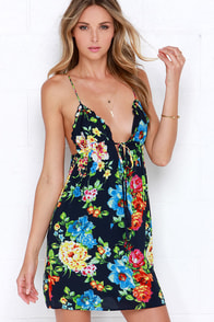 Floral Isle Navy Blue Floral Print Dress at Lulus.com!