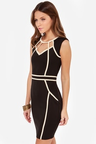 Little Mistress Hold the Line Black Bodycon Dress at Lulus.com!