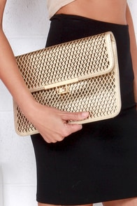 Lattice Love Gold Clutch at Lulus.com!