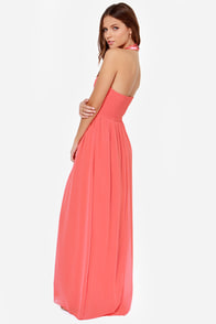 Little Mistress Divine and Dine Beaded Coral Maxi Dress at Lulus.com!