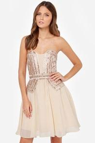 Little Mistress Guarded Heart Strapless Beige Sequin Dress at Lulus.com!