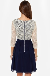 Little Mistress Sweet Parisian Cream and Navy Blue Dress at Lulus.com!