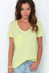 Pleasant Surprise Washed Chartreuse Tee at Lulus.com!
