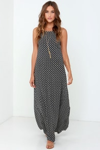 Crater Lake Navy Blue Print Halter Maxi Dress at Lulus.com!