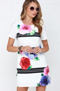 Watercolor Outside the Lines Ivory Floral Print Shift Dress at Lulus.com!